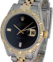 Rolex Mens Datejust 16013 Two-tone 36mm Black  Diamond Dial Lugs Bezel Watch