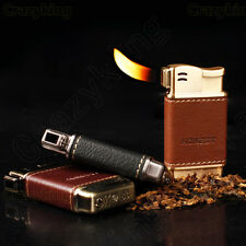 Mini Brown Leather Metal Tobacco Smoking Pipe Cigarette lighter  With Gift Box