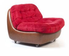 Lounge-Teddy-Kunst-Leder-Kult-Sessel Cognac Pop Art 70/80er vintage