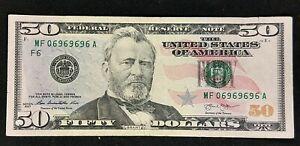 2013 $50 FRN Federal Reserve Note Bill Semi Radar Serial Number Repeated 69