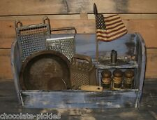 Wood Cubby Shelf Box*BLUE*Spice Rack*Primitive/French Country Farmhouse Decor