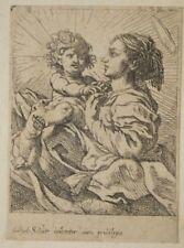 Madone à l'enfant, eau-forte de Cornelis Schut, XVIIe siècle