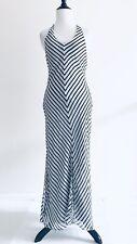 Victoria Secret Long Stripe Silk Robe Size M White halter Maxi Lingerie