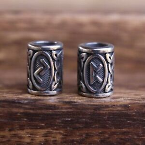 Set of 2 Viking Norse Beads  | Stainless Steel | 7mm Hole (1/4 Inch) Beard Beads