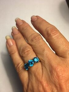 London Blue Topaz 3 Stone Ring Sterling Silver Yellow Gold Overlay Sz 6.25 NWOT