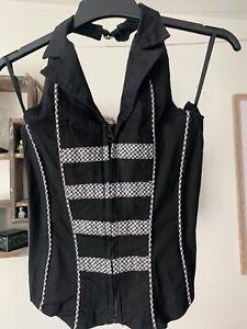 Living Dead Souls black corset style halter top, size S