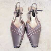 Jacques Vert Grey & Pink Slingback Shoes Wedding Made In Italy Size UK 6 EU 39