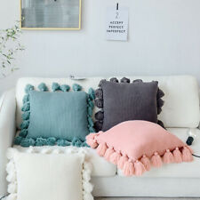 Knitted Pillowcase Soft Cushion Pillow Cover With Hand-woven Tassel Sofa Decor