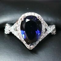 Gorgeous Blue Sapphire Ring Women Jewelry Wedding Engagement Gift Free Shipping