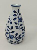 "The Bombay Company Ceramic Blue & White Vase Floral 6"""