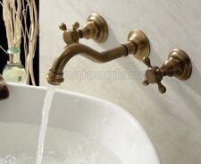 Wall Mounted Antique Brass Bathroom Basin Sink Faucet Bath Tub Mixer Tap Ctf050