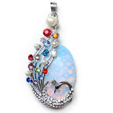 Peacock Handmade Jewelry Huge Rainbow Moonstone Gems Silver Necklace Pendants