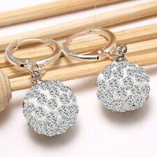Fashion Women 18K White Gold Filled Rhinestone Crystal Hoop Earrings Stud Gift