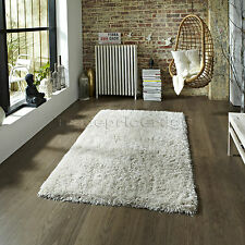 Think Rugs Shaggy Hand Tufted Acrylic and Polyester Rug Cream 60 X 115 Cm