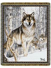 68x48 WOLF Wolves Winter Snow Wildlife Tapestry Afghan Throw Blanket