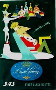 Original vintage poster SAS SCANDINAVIAN AIRLINES ROYAL TRAVEL c.1950