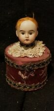 Antique mignonette Glass Eyes Bisque Doll Head Box cardboard Candy Container