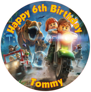 """Lego Jurassic park  7.5"""" , 2"""" , 1.5"""" ROUND EDIBLE ICING PRINTED CAKE TOPPER"""