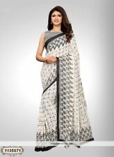 White Checkered Printed Bollywood Saree Party Wear Indian Designer Sari L100