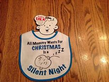 Bib Infant Baby All Mommy Wants For Xmas Is A Silent Night White Blue Trim