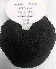 10 pelotes de  laine, cachemire et  soie  noire  - fabriqué en France