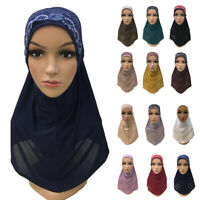 Amira Hijab Lace Scarf Muslim Women Head Wrap Shawl Islamic Headscarf One Piece