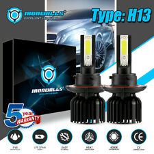 IRONWALLS H13 9008 COB LED Headlight Bulb 2200W Super Bright High-Low Beam 6000K