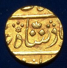 INDIA BOMBAY PRESIDENCY GOLD MOHUR SHAH ALAM II WITH CROWN RY 46 EF MINT SURAT