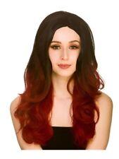 Donna Nero Rosso Sole Sfumati Parrucca Adulto Strega Vampiro Halloween Fancy Dress accessorio
