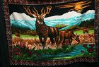 Vintage Elk Tapestry Brushed Cotton Large Wall Hanging RTC New York 39x52 Nature
