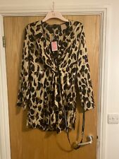 Leopard Print Satin Long Sleeved Dress SIZE 14.