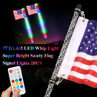 6 color available Led light bulb whip with American flag Quick Release Green, 4 Feet