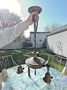Antique Art Deco 3 Arm Ceiling Pan Light Brass Pendant Lamp Vintage Chandelier