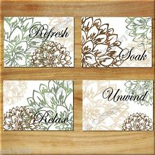 Brown Green Beige Bathroom Bath Wall Art Prints Decor Floral Flower Words Quote