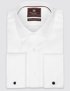 M&S WHITE Mens Pure Cotton Tailored Fit Long Sleeve Luxury Shirt Size 14.5 -17.5