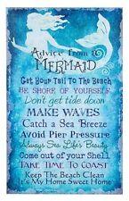 16 x 10 Rustic Mermaid Rules Canvas Print - Nautical Wall Beach/Home Decor