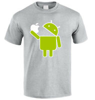Android robot eat Apple android vs iphone funny  T-shirt size S-XXL