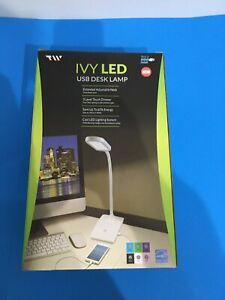 "IVY LED (USB) DESK LAMP 14"" HIGH  (WHITE OR BLACK) YOUR CHOICE"