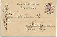 "DT.REICH ""LEIPZIG / 2"" K1  a. 5 Pfennig violett Kab.-GA-Postkarte n GRENZHAMMER"
