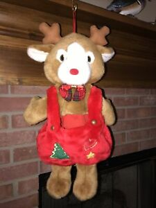 """Vintage Plush Reindeer Stocking  Christmas   21"""" By Prima Creation Early 90's"""
