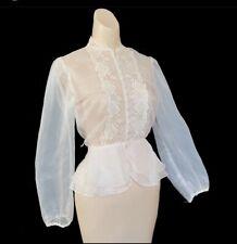 Vtg 50s 60s Nylon Dress Blouse See Through Puffy Sleeves Pin Up Vlv
