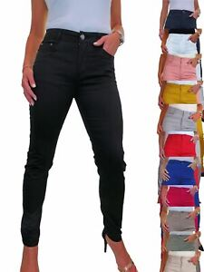 ICE Womens High Waist Jeans Stretch Chino Sheen Slim Leg 10-20