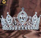 Brides Wedding Tiara Crown Austrian Rhinestone Beauty Pagenat Silver Headpiece