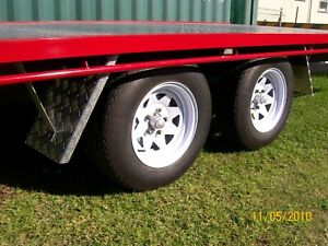 Four Aluminum Checker plate Mudguards To Suit Ute Tray Top 280mm x 460mm long