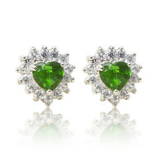 Pair rhodium plated heart green CZ crystal stud earrings halo Christmas Party