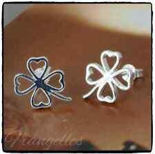 925 Sterling Silver 4 Leaf Clover Shamrock  Butterfly Stud Earrings Lucky Gift