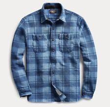 $295 RRL Ralph Lauren Brushed Cotton Jacquard Work Shirt-MEN-XXL