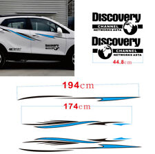 2PCS Car Stripes Sport Line Vechile Decals Sticker Black+Blue Stylish For SUV