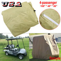 Waterproof 4 Passenger Golf Cart Taupe Cover , Fit EZ GO, Club Car and YAMAHA US
