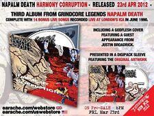 "Napalm Death ""Harmony Corruption"" Full Dynamic Range FDR Remastered Digipak CD"